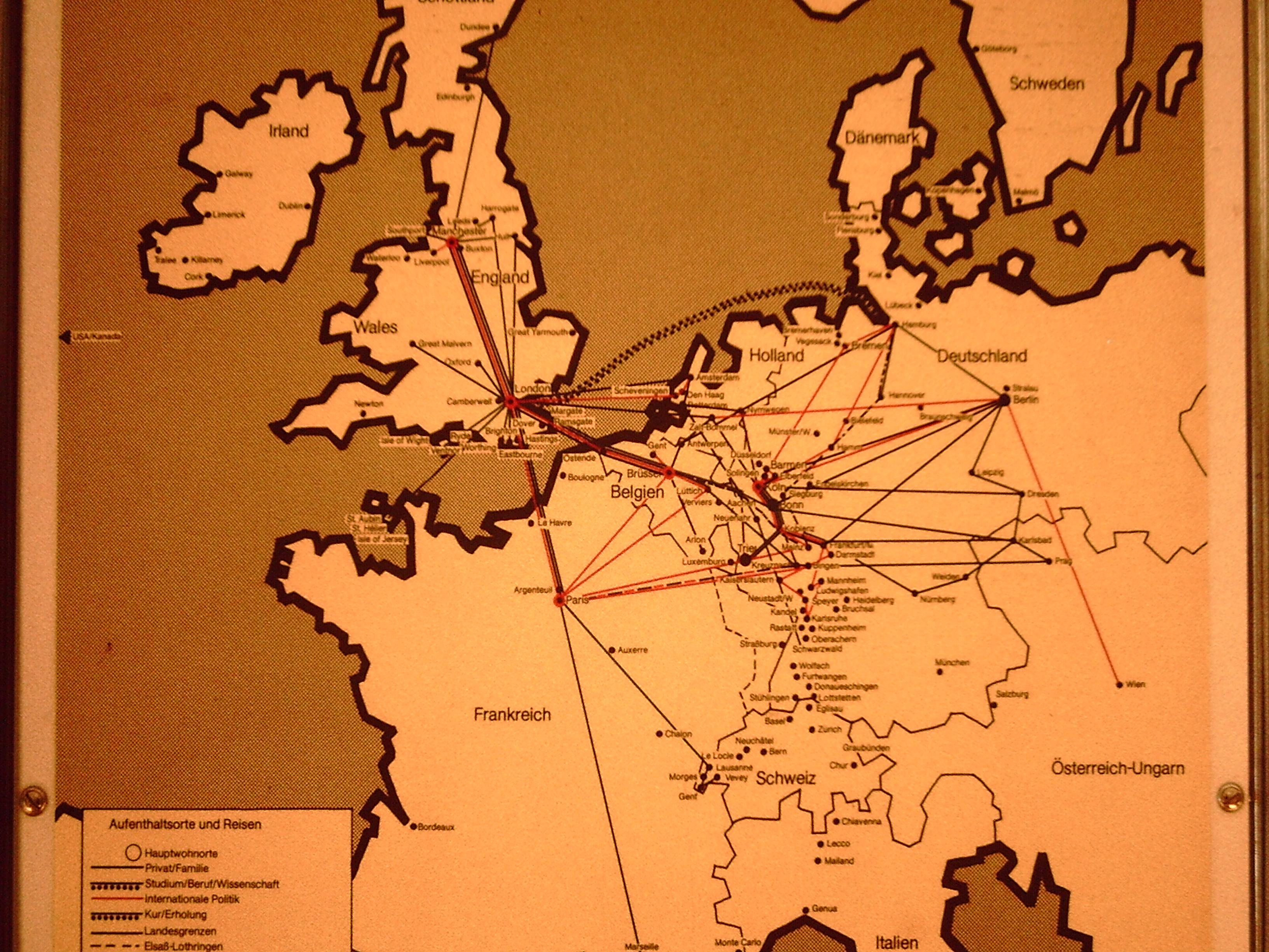 Aufenthaltsorte und Reisen